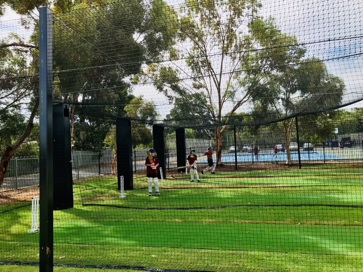 Outdoor retractable cricket netting Quin Sports & Nets